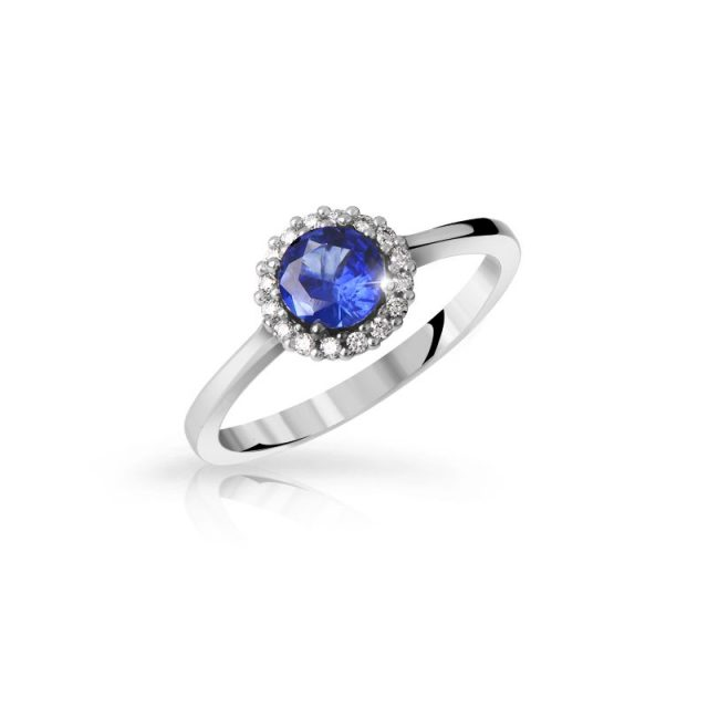 Zásnubní prsten z bílého zlata s modrým safírem a brilianty, Danfil DF 3647B