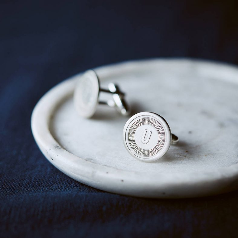 Stříbrné pánské manžetové knoflíčky s monogramem