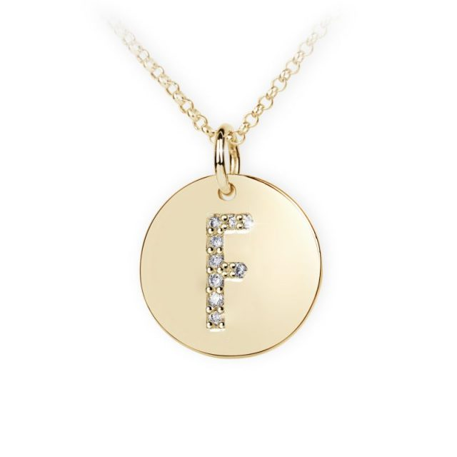 Danfil přívěsek DF 4485 ze žlutého zlata – písmeno F