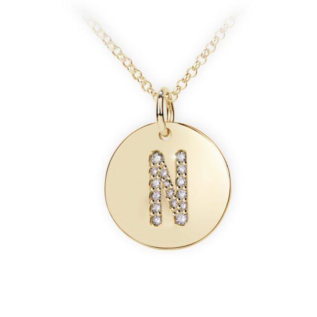 Danfil přívěsek DF 4493 ze žlutého zlata – písmeno N