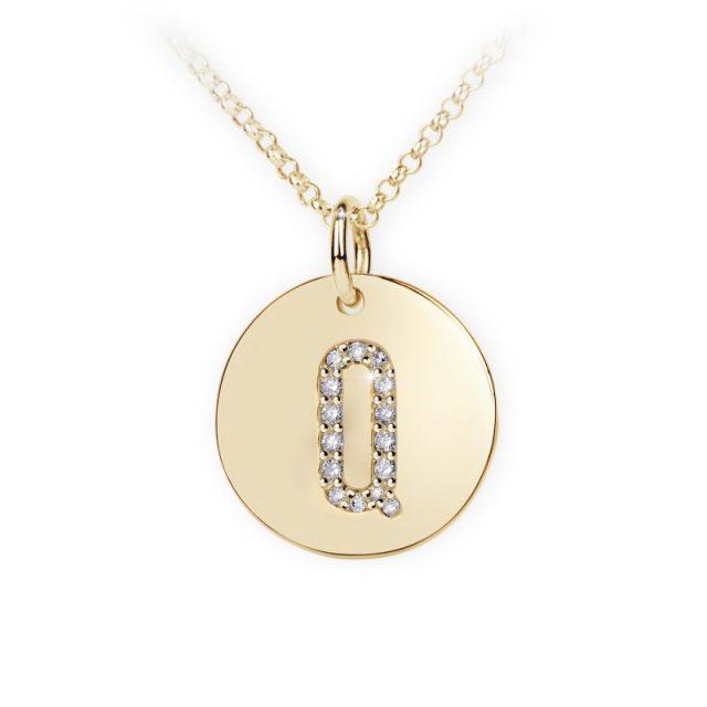 Danfil přívěsek DF 4496 ze žlutého zlata – písmeno Q