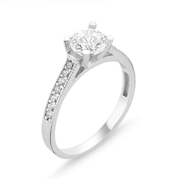 Stříbrný prsten se zirkonem 1364