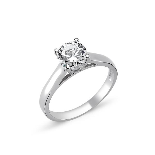 1727 Stříbrný solitérní prsten CZ