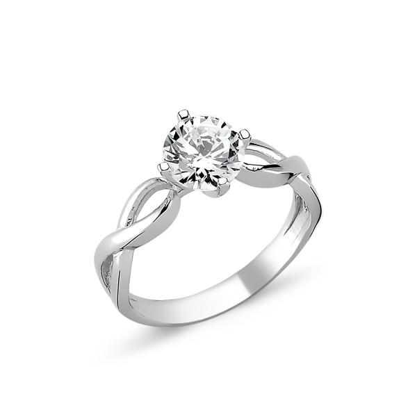 1264 Stříbrný solitérní prsten se zirkonem