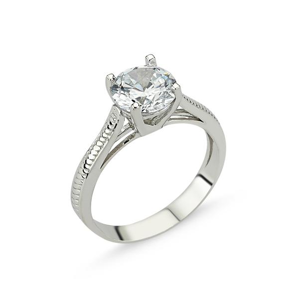 1267 Stříbrný solitérní prsten se zirkonem
