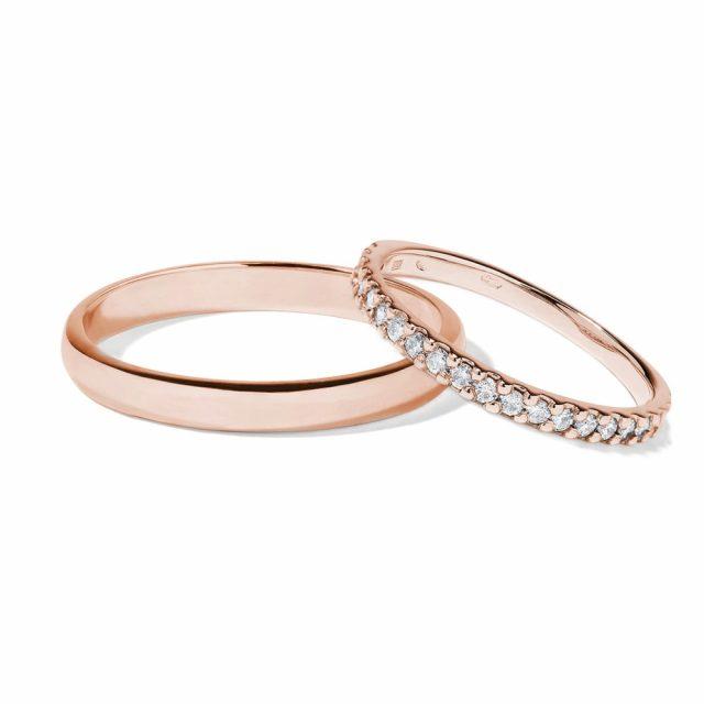 Snubní prsteny z růžového zlata s diamanty KLENOTA
