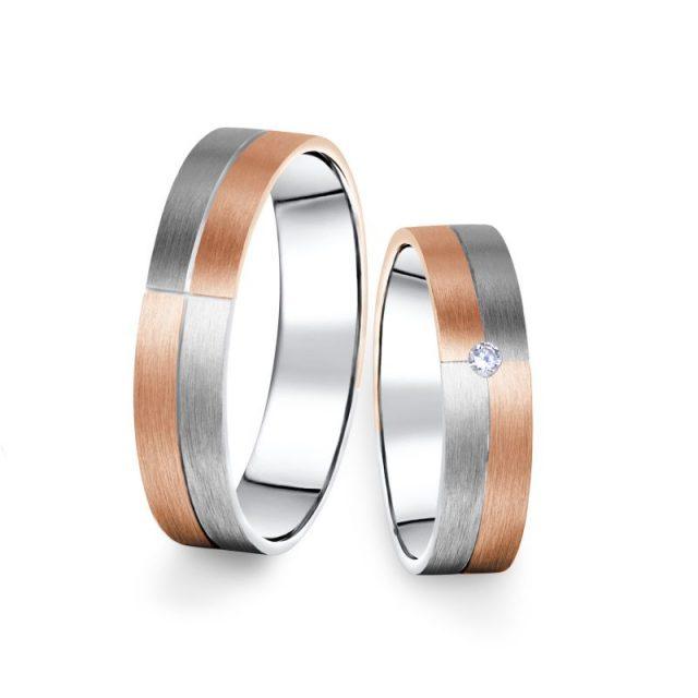 Kombinované snubní prsteny z bílého a růžového zlata s briliantem, pár – 09