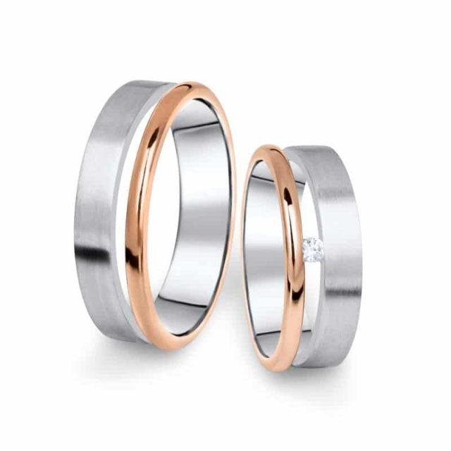 Kombinované snubní prsteny z bílého a růžového zlata s briliantem, pár – 11