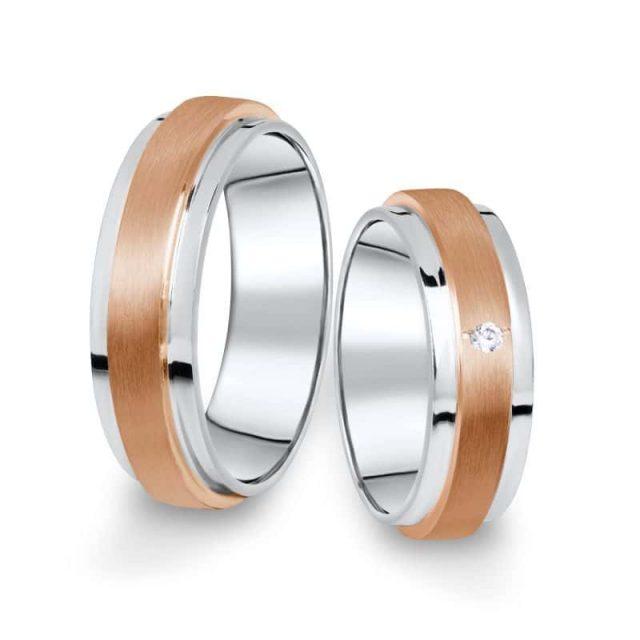 Kombinované snubní prsteny z bílého a růžového zlata s briliantem, pár – 12