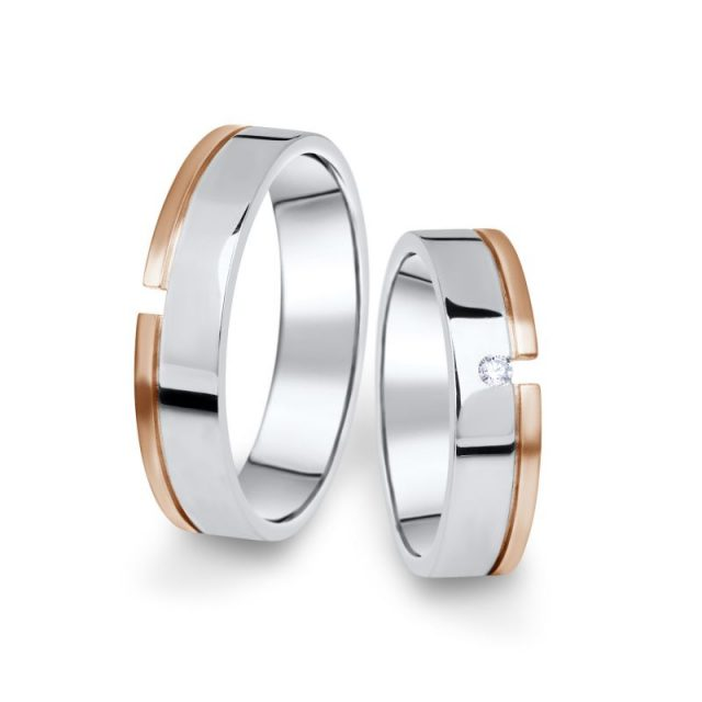 Kombinované snubní prsteny z bílého a růžového zlata s briliantem, pár – 16