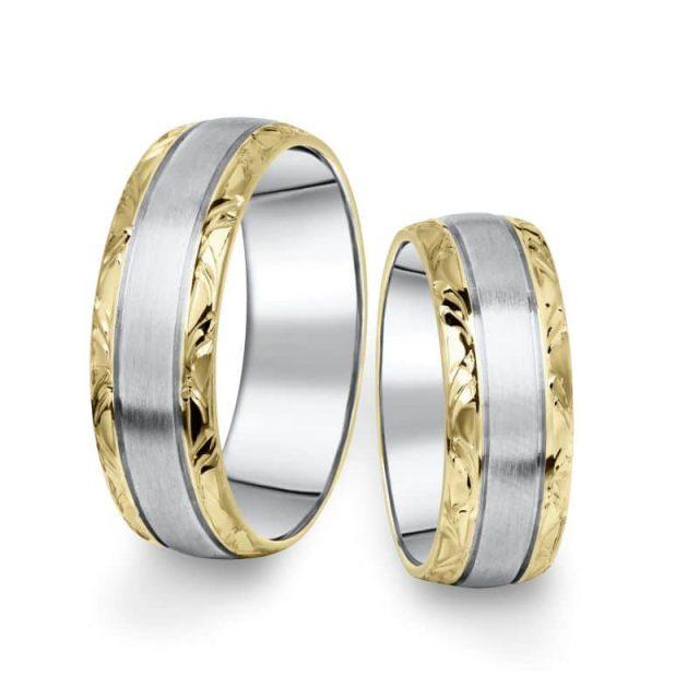 Kombinované snubní prsteny z bílého a žlutého zlata, pár – 10