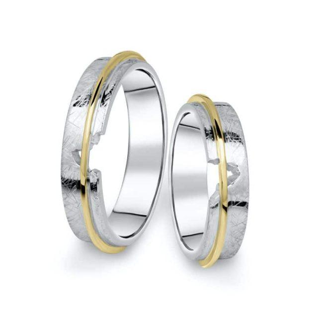 Kombinované snubní prsteny z bílého a žlutého zlata, pár – 19