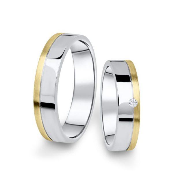 Kombinované snubní prsteny z bílého a žlutého zlata s briliantem, pár – 05