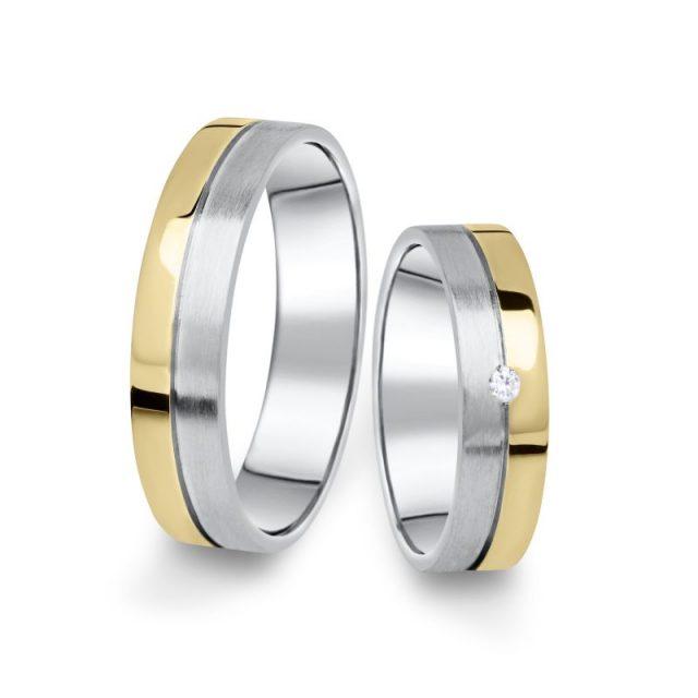 Kombinované snubní prsteny z bílého a žlutého zlata s briliantem, pár – 06
