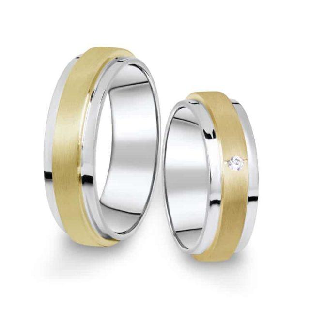 Kombinované snubní prsteny z bílého a žlutého zlata s briliantem, pár – 12