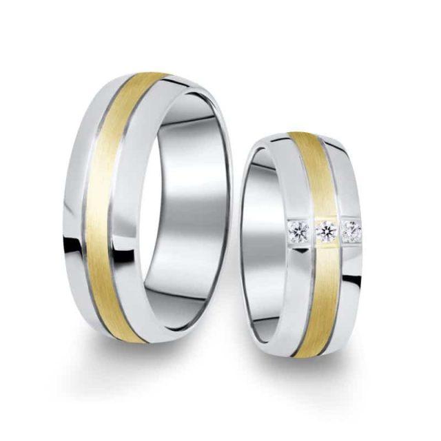 Kombinované snubní prsteny z bílého a žlutého zlata s brilianty, pár – 14