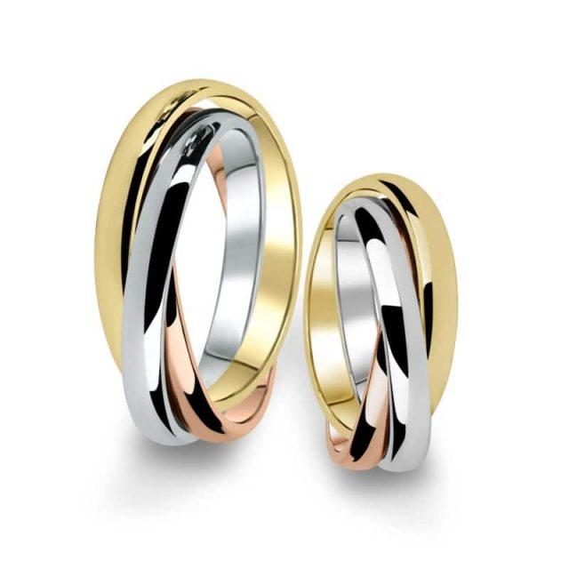 Kombinované snubní prsteny z bílého, žlutého a růžového zlata, pár – 02