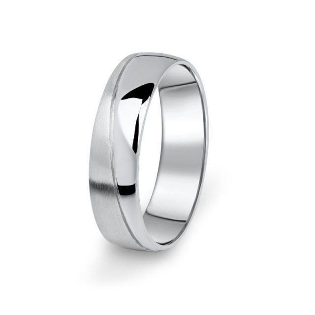 Prsten snubní Danfil DF01/P bílé zlato, bez kamene