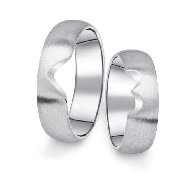 Snubní prsteny z bílého zlata, pár – 03