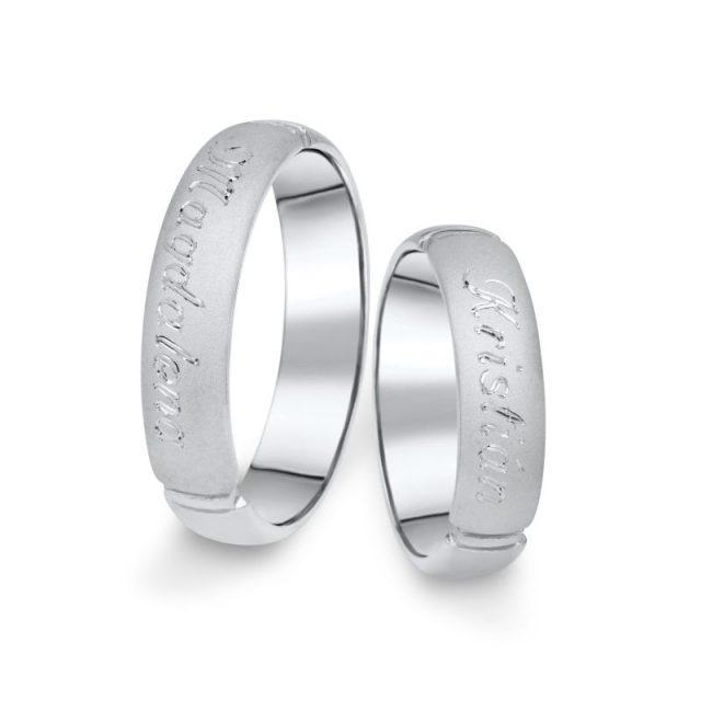 Snubní prsteny z bílého zlata, pár – 04