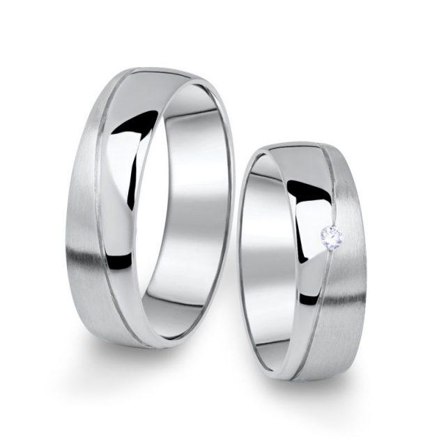 Snubní prsteny z bílého zlata s briliantem, pár – 01