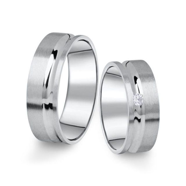 Snubní prsteny z bílého zlata s briliantem, pár – 07