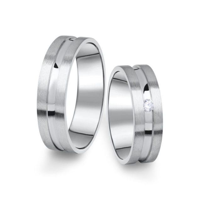 Snubní prsteny z bílého zlata s briliantem, pár – 08
