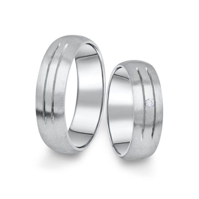 Snubní prsteny z bílého zlata s briliantem, pár – 13