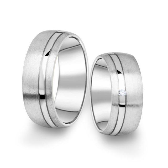 Snubní prsteny z bílého zlata s briliantem, pár – 18