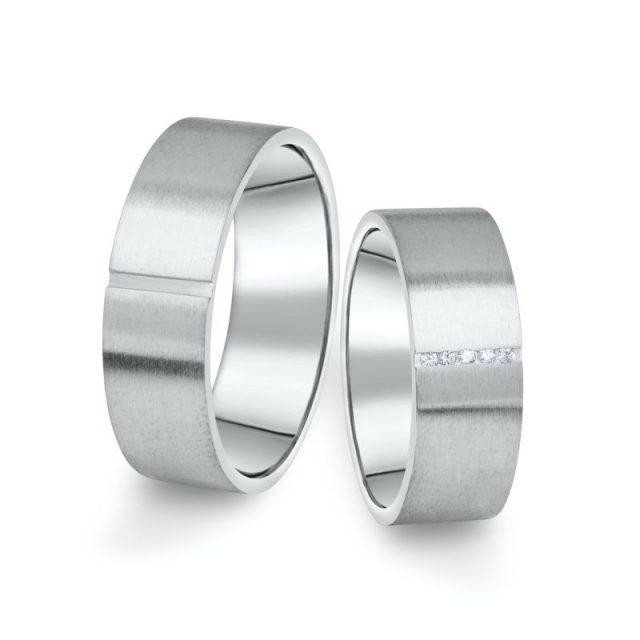 Snubní prsteny z bílého zlata s brilianty, pár – 17