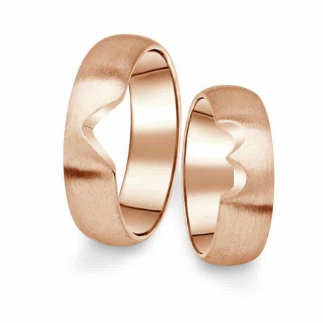 Snubní prsteny z růžového zlata, pár – 03