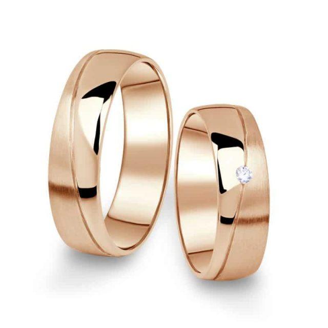 Snubní prsteny z růžového zlata s briliantem, pár – 01