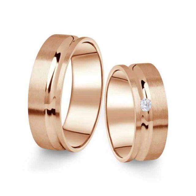 Snubní prsteny z růžového zlata s briliantem, pár – 07