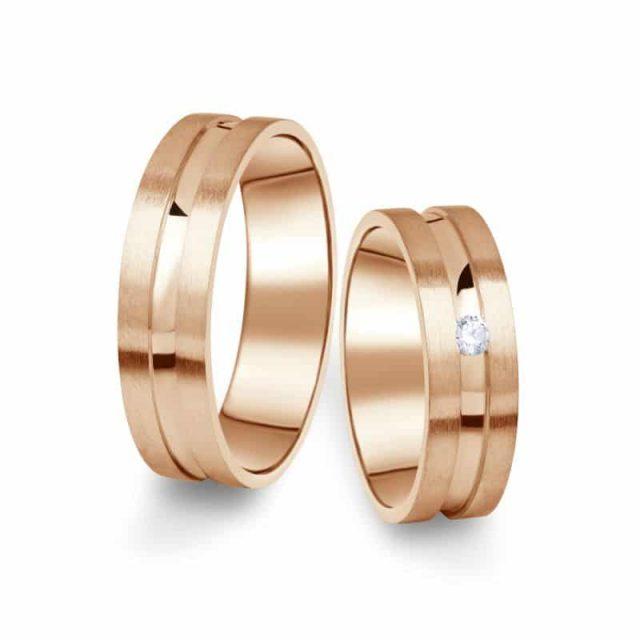 Snubní prsteny z růžového zlata s briliantem, pár – 08