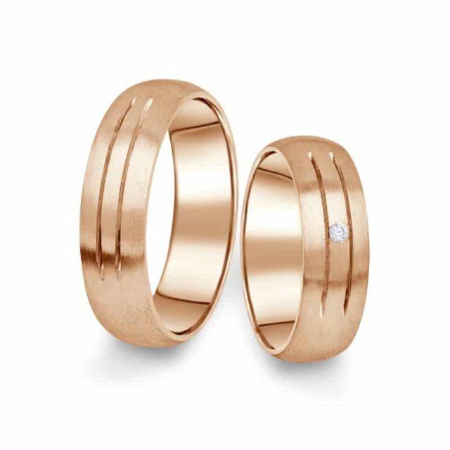 Snubní prsteny z růžového zlata s briliantem, pár – 13