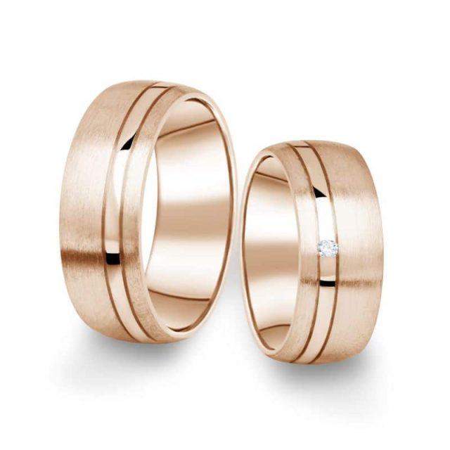 Snubní prsteny z růžového zlata s briliantem, pár – 18