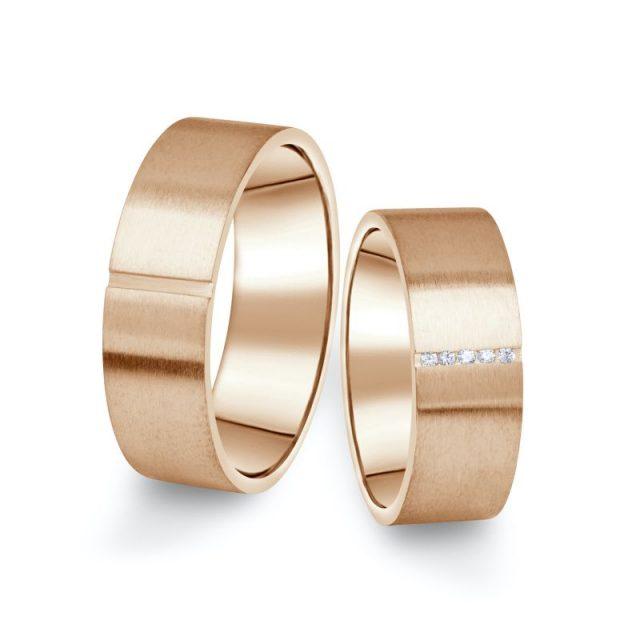 Snubní prsteny z růžového zlata s brilianty, pár – 17