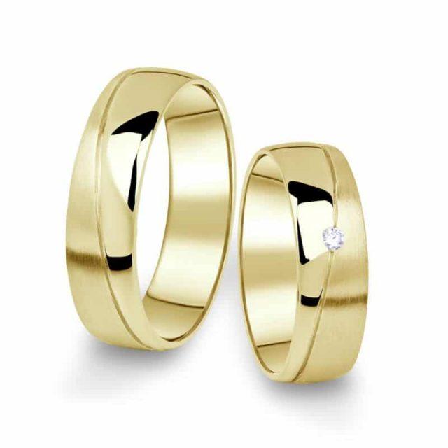 Snubní prsteny ze žlutého zlata s briliantem, pár – 01
