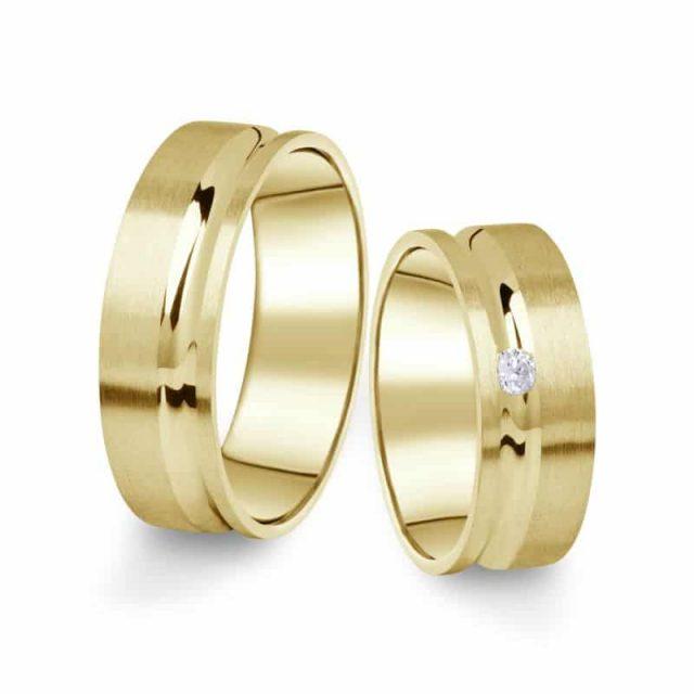 Snubní prsteny ze žlutého zlata s briliantem, pár – 07