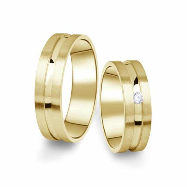 Snubní prsteny ze žlutého zlata s briliantem, pár – 08