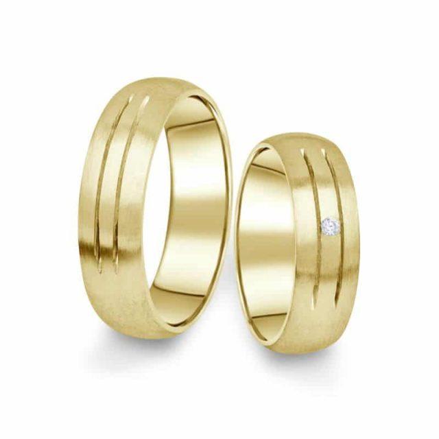 Snubní prsteny ze žlutého zlata s briliantem, pár – 13