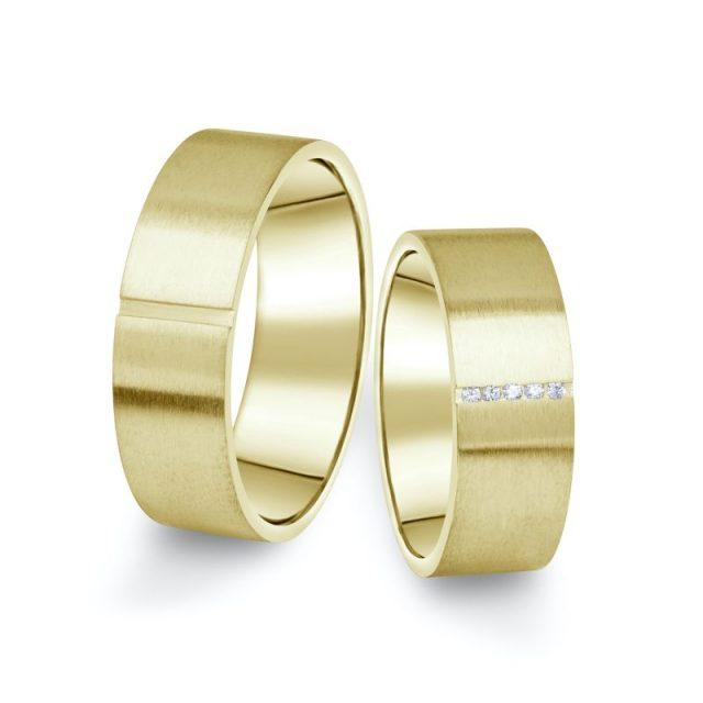 Snubní prsteny ze žlutého zlata s brilianty, pár – 17