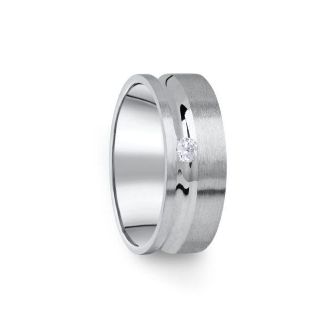 Zlatý dámský prsten DF 07/D z bílého zlata s briliantem