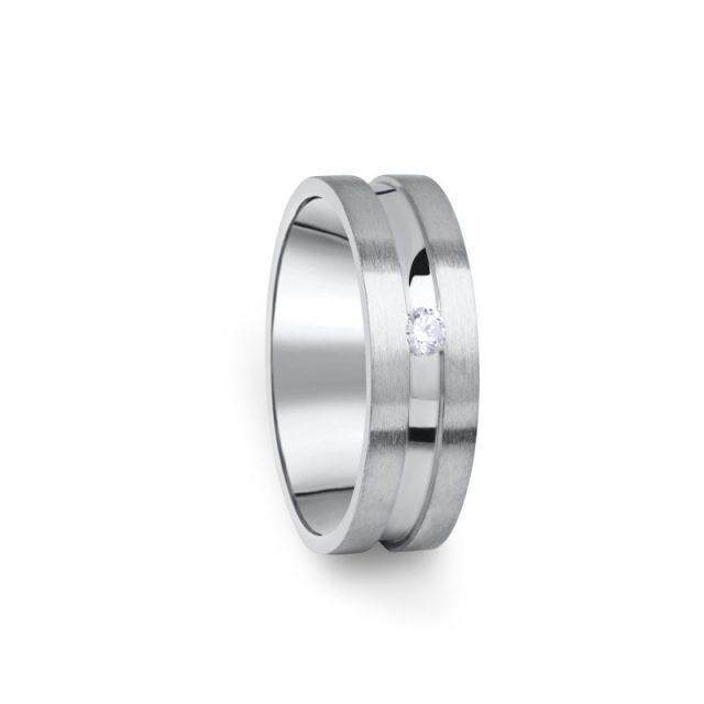 Zlatý dámský prsten DF 08/D z bílého zlata s briliantem