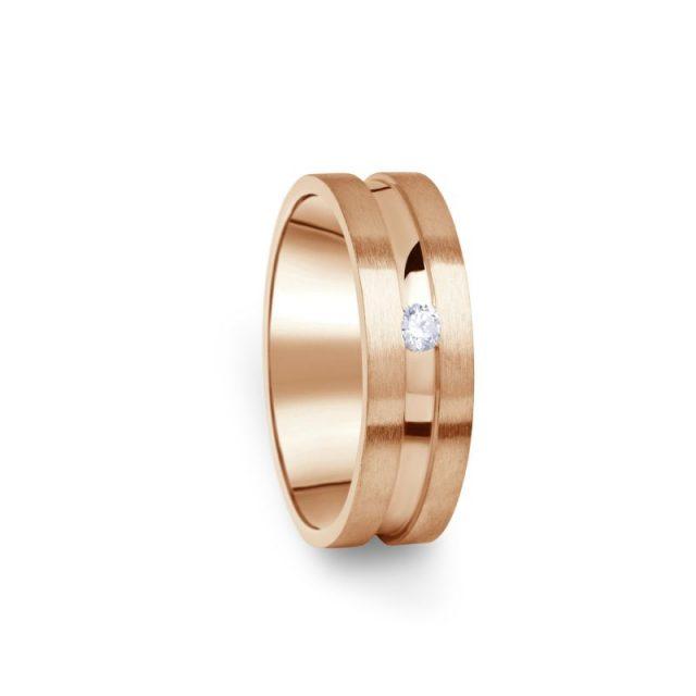 Zlatý dámský prsten DF 08/D z růžového zlata s briliantem