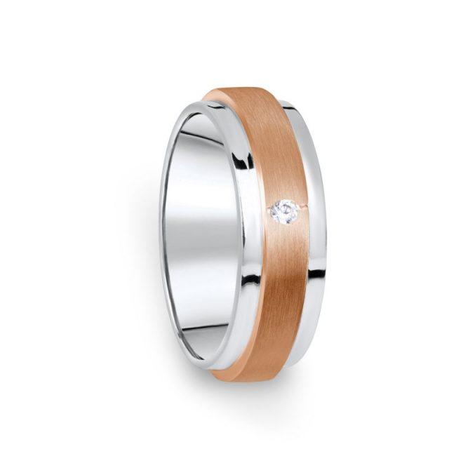Zlatý dámský prsten DF 12/D z kombinovaného zlata a briliantem