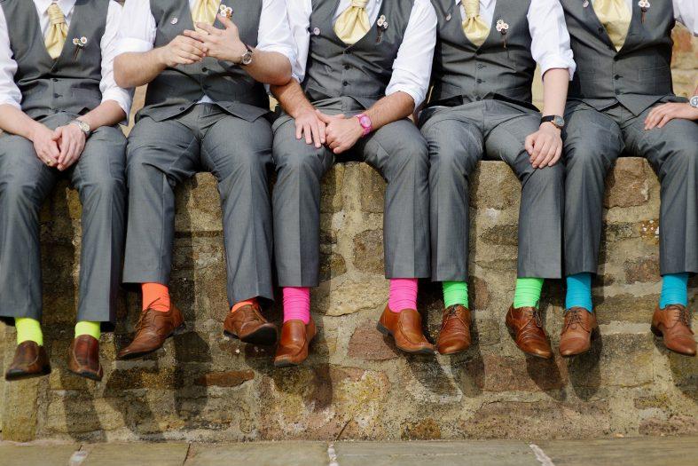Barevné svatební ponožky
