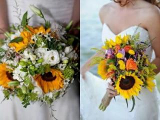 Bohaté slunečnicové svatební kytice