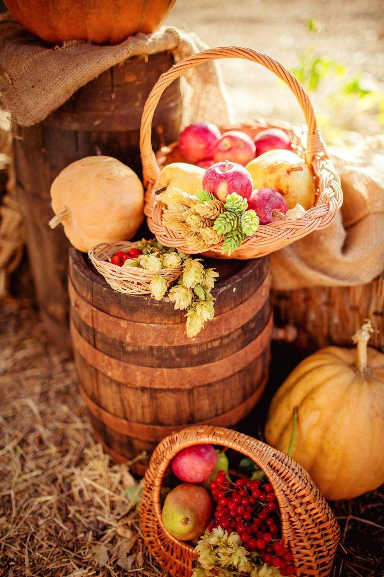 Dýně a jablka jako svatební dekorace