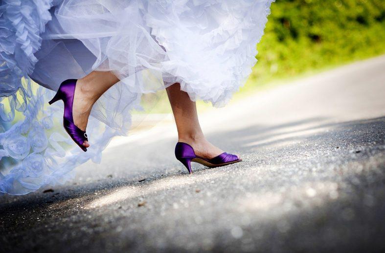 Tmavě fialové svatební boty